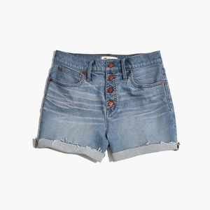 Madewe High Rise Denim Shorts Button Front